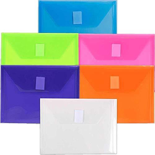 JAM PAPER Plastic Envelopes with Hook & Loop Closure - Index - 5 1/2 x 7 1/2 - Assorted Colors - 6/Pack