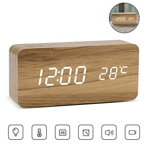 ASANMU LED Digitaler Wecker, Holz Wecker Digitalwecker Wecker Uhr in Holzoptik digital Anzeige von Uhrzeit Temperatur Datum Hölzerne Reisewecker Tischuhr Dekoration Alarm mit USB Kabel (Holzfarbe)