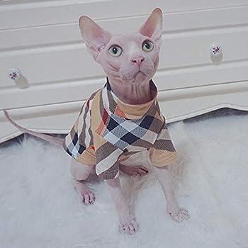 TENGTUD Vêtements de Chat pour Chat sans Poils Sphynx, Chemise de Base Chaude pour l'automne et l'hiver-XL