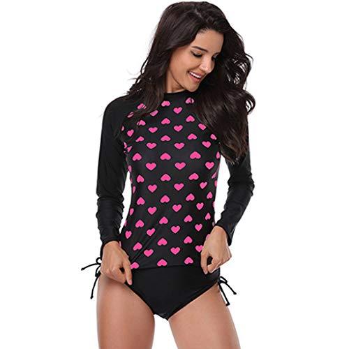 Femmes Fille Maillot de Bain Rashguard Manches Longues,ELECTRI Tankini Protection Solaire Anti-UV T-Shirt Top de Sport pour Vacances Surf Plage Natation
