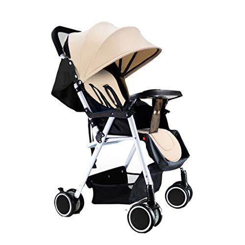 Une Poussette légère pour bébé Peut s'asseoir et s'allonger. des poussettes Pliables. des landaus Disponibles pour Les Enfants. Quatre Saisons. (Color : Khaki, Taille : 22.83 * 18.89 * 40.55inchs)