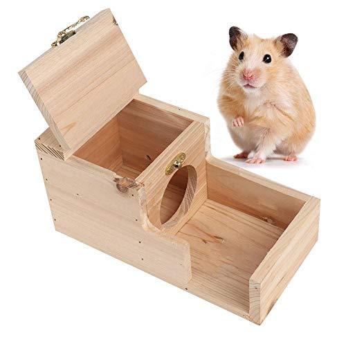 Qioni Hamster House de madeira, hamster em uma casa, brinquedos confortáveis e seguros, para ratos de esquilo