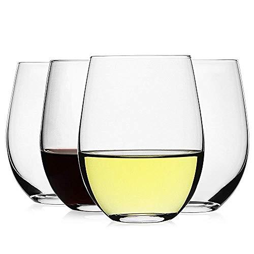 Luxu - Copas de vino sin tallo (juego de 4) - 591 ml, copas de vino transparentes para vino tinto o blanco, vasos de whisky de cristal, copas de agua grandes, copas de agua para...