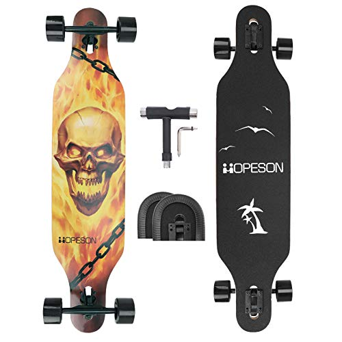 42 Inch Longboard Skateboard Complete Maple Deck Cruiser for Beginners Professionals All Terrain Skateboard for Dancing Cruising Freeride Freestyle with Long Board Deck Edge Protector and Tool