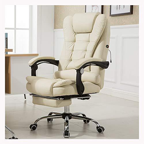 JIADUOBAO-S Silla de oficina, jefe, silla del ordenador, silla de masaje, silla giratoria, Sillón reclinable grúa, la silla de cuero ajustable, silla de la computadora ergonómico con reposapiés JIADUO