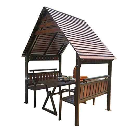 HLZY Gazebo Permanente per Patio Lawn, Gazebo per Patio con scrivania, Padiglione in Legno massello in Legno, Gazebo da Giardino all'outdoor ombreggiatura