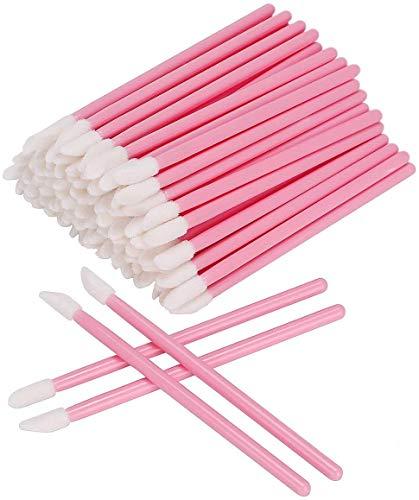 100 Pcs Disposable Lip Brushes Make Up Brush Lipstick Lip Gloss Wands Applicator Tool Makeup Beauty Tool Kits (Pink) (100PC)