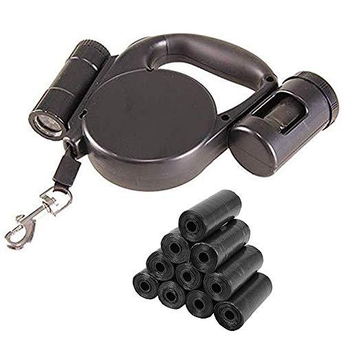 Hundeleine mit Aufrollfunktion und LED-Taschenlampe und integriertem Kotbeutelspender mit 150 Hundekotbeuteln, einziehbares Band, 4,5 m, für alle Arten von Hunden bis 20 kg