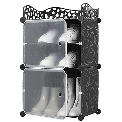 Zapatero, 4 cubos, multicapa, apilable, para zapatos, botas, unidad de almacenamiento, organizador de bricolaje, ahorro de espacio, armario entrelazado multipropósito, nivel 1X4