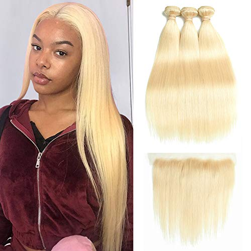 613 Blonde Bundles with Frontal Straight Bundles with Frontal Weaves 13×4 Lace Frontal with 3 Bundles 100% Brazilian Virgin Human Hair Extension Free Part (26 28 30 with 20, Frontal)