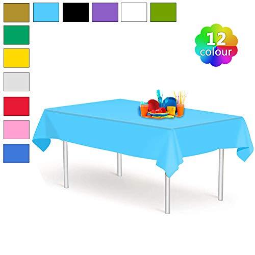 YANGTE Einweg Tischdecke aus Kunststoff 4 Stück,Blau Plastik Tischtuch Rechteck 137x274cm für Tische im Indoor und Outdoor Partys, Garten, Geburtstage, Hochzeiten, Weihnachten