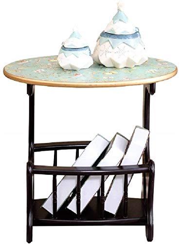 Beistelltisch Bücherregal Regal, Anrichte/Sofa Stand-Beistelltisch Pastoral Regal Gemalt Kleinen Couchtisch Holz Kunst Schlichte und Lagerung (Color : Ivory White)