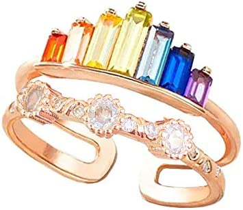Rainbow Ring Double Band, Adjustable Wide Band Stacking Rainbow Rings for Women, Adjustable Opening