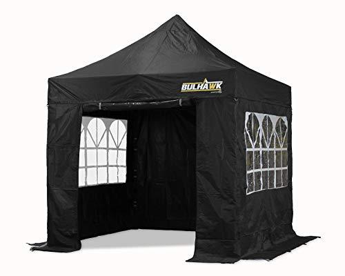 Bulhawk® Pop-Up-Pavillon, 2,5 m x 2,5 m, kommerzielle Qualität, robust, mit vier Seitenwänden und Tragetasche mit Rädern (schwarz)