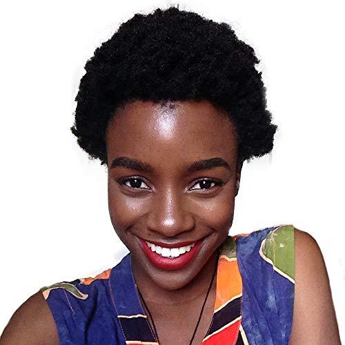 Novopus:Pelo humano pelucas sin tapa Pelo Natural Afro Kinky/Rizado Jheri Bob corto Diseños de Moda/Gran venta/Cómodo Negro Corta Sin Tapa Peluca Mujer/Entradas Naturales