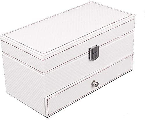 Caja de reloj caja de almacenamiento con cerradura de 2 capas con caja de joyería de cuero PU para la exhibición del reloj de las señoras