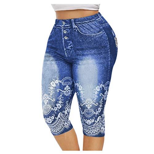 HULKY Damen Capri Jeans Hose Risse Kurze Jeans mit Blumenstickerei Hose, 3/4 Leggings Capri Hose Jeggings Kurz Denim Strumpfhose(Blau,M)