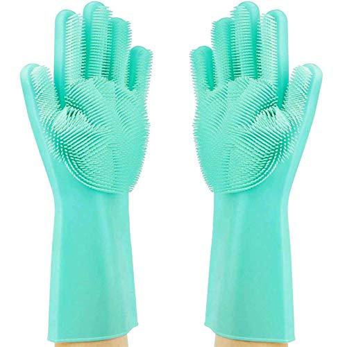 Silikon Spülhandschuhe, Reinigungsbürste, Hitzebeständig Wiederverwendbar zum, Geschirrspülen Reinigen Küchenhaushalt,für die Reinigung,Haushalt,das Auto waschen,Pet Haarpflege und Handschutz.