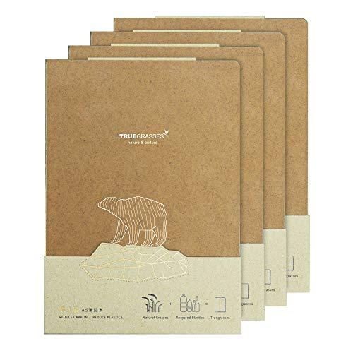 Trugrasses Cuaderno de tapa dura (A5), plano abierto, pajita + polipropileno, papel reciclado, color crema (blanco roto), 160 hojas, cuadrícula (juego de 4)
