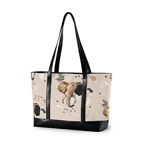 Abstract Elephant Tribal Khaki 14 15 15.4 15.6 inch Laptop Tote Bag for Women Large Lightweight and waterproof Computer Handbags Laptop Shoulder Messenger Bag