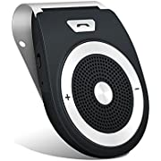 Bluetooth Car Speakerphone,Bluetooth 4.1 Handsfree Motion Auto Power On Stereo Music Speaker Wireless Sun Visor Audio Receiver Player Adapter Built-in Microphone,for Samsung Android Phones Support Siri