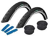 SCHWALBE Energizer Plus Set: 2x pneu de vélo pour vélo électrique 37–622(28x 1,40) + 2tuyaux Stk. DV 17avec valve Dunlop + Démonte-pneu