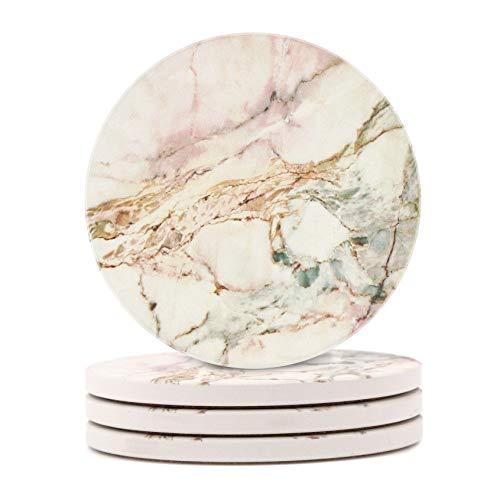 HAOCOO 4 Stück Runden Getränk Untersetzer - Saugfähiger Stein Untersetzer Set mit Korkboden und Keramik Stein, Dekorativ Untersetzer für Arten von Bechern und Tassen - Rosa Marmor