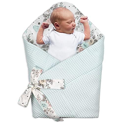 Saco de Dormir para bebé de - Manta de niño pequeño de Dormir, para Durante Todo el año, Saco Reversible para Envolver (Algodón on Mariposa - Piqué Waffle en Menta)