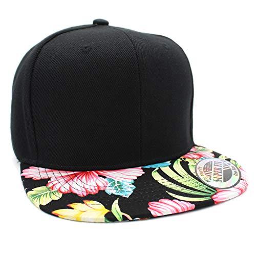 LAFSQ Plain Hawaiian Flower Printed Brim Flat Bill Snapback Cap (Black/Pink)