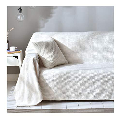 Sofabezug für 3 Sitzer, 1 Stück Elastischer Sofaüberwurf Samt-Optisch, Couch Überzug, Sofa Überzug, Stretch Antirutsch Armlehnen Plain Einfach Sofahusse Sofa Abdeckung Hussen-Off-white 2x3m(78x118in