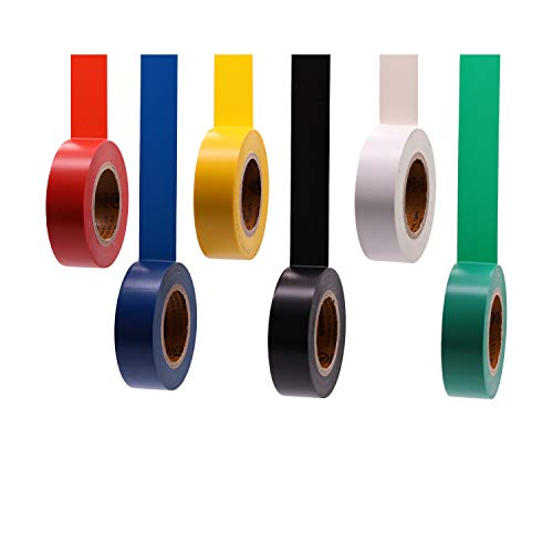 Soundoriginal Electrical Tape Colors 6 Pack 3/4-Inch by 30 Feet, Voltage Level 600V Dustproof, Adhesive for General Home Vehicle Auto Car Power Circuit Wiring Multicolor(30Ft MUL)