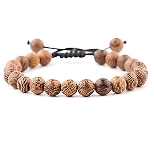 Lion&Son Wood Armband Unisex Gladiator Helm Buddha-Armreifen Perlen Holz Hamsa Skull Hantel Fitness Bracelet (Basic - Cord)