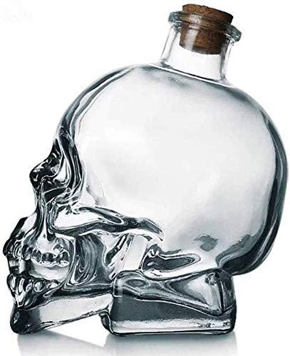KPTKP Cráneo de Cristal Botella de Vino, decantador de Whisky, Vidrio Grueso sin Plomo con soplado a Mano con Corcho, Regalos para Whisky escocés Vodka Brandy Ron- 200ml