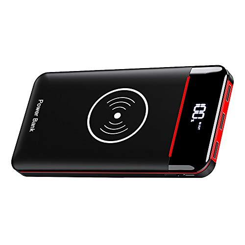 RLERON Batería Externa 25000mAh Inalámbrico Power Bank, Cargador Móvil Portátil con USB C & Micro 2 Entradas y 3 Puertos, 3 LED para Dispositivos QI, Smartphones Tablet y más