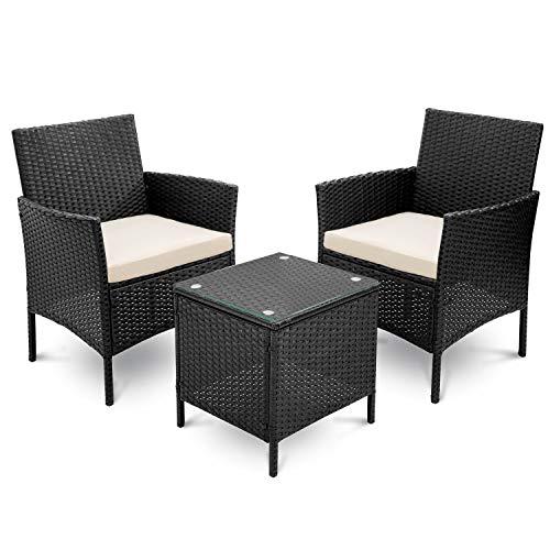 LIFE CARVER Rattan Garden Furniture 3 Pieces set garden sofa Outdoor Patio Furniture(Black)