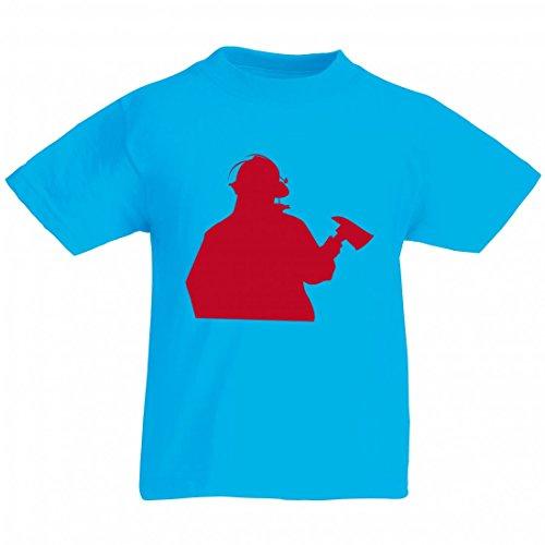 Camiseta de FEUERWEHRMANN- Silhouette- RETTER- 911- héroes - BRANDBEKÄMPFUNG- Emergencias- Fuego - Seguridad de rescate - profesión para hombres - mujeres - niños - 104-5XL azul Talla del hombre: 5X-Large