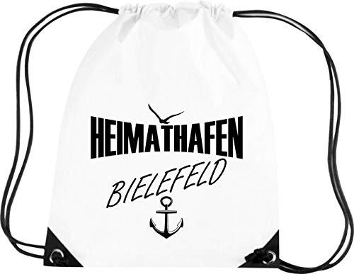 Premium Gymsac Heimathafen Bielefeld, Sprüche Spruch Logo Motiv, Turnbeutel Tasche Sport Beutel, Farbe White