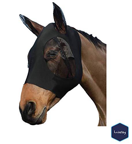 Laisetey Pferdefliegenmaske, Fliegenmaske mit Ohren, Extra Komfort Lycra Grip Soft Mesh Pferdefliegenmaske mit Ohren (Cob/Arab,Black)
