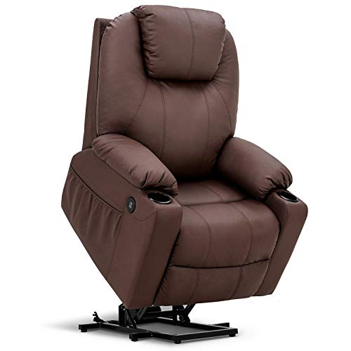 Mcombo Large Power Lift Recliner Chair with Massage and Heat for Elderly Big and Tall People, 3 Positions, 2 Side Pockets and Cup Holders, USB Ports, Faux Leather 7517 (Large, Light Brown)