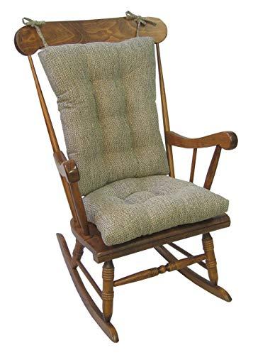 """Klear Vu Tyson XL Gripper Non-Slip Extra Large Overstuffed Rocking Chair Pad Set, 17"""" x 17"""", Natural"""