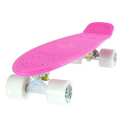 Land Surfer Skateboard Cruiser Retro Completo con tavola Rosa 56cm - Cuscinetti ABEC-7 - Ruote Bianche 59mm PU + Borsa per Il Trasporto