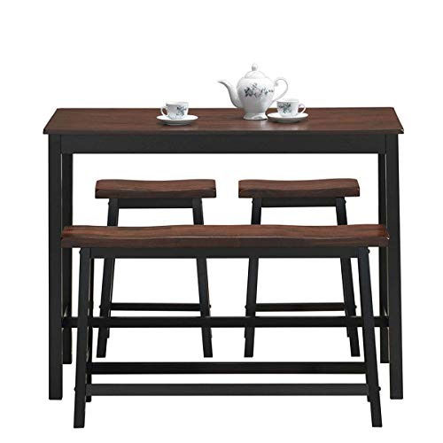 COSTWAY 4-Piece Solid Wood Dining Table Set, Counter Height Dining Furniture with One Bench and Two Saddle Stools, Industrial Style with Foot Pads, for Home, Kitchen, Living Room (Black & Brown)
