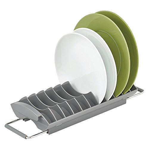 mDesign Kitchen Sink Dish Drainer Tray – Compact Dish Rack for Kitchen Sink – Plastic Dish Drying Rack for Plates and Dishes – Grey