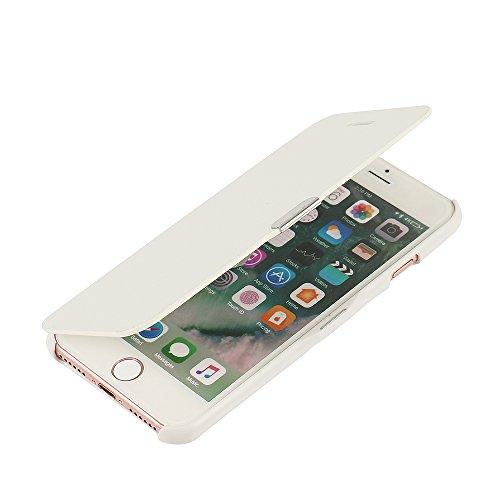 MTRONX für iPhone 7 Hülle, Case Cover Schutzhülle Tasche Etui Klapphülle Magnetisch Dünn Leder Folio Flip für Apple iPhone 7 - Weiß(MG-WH)
