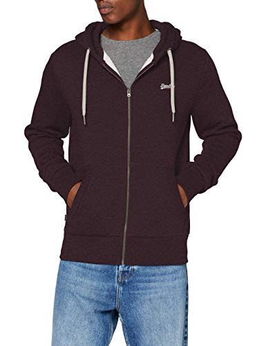 Superdry Mens OL Classic Zip Hood Sweater, Autumn BlackBerry Marl, Large