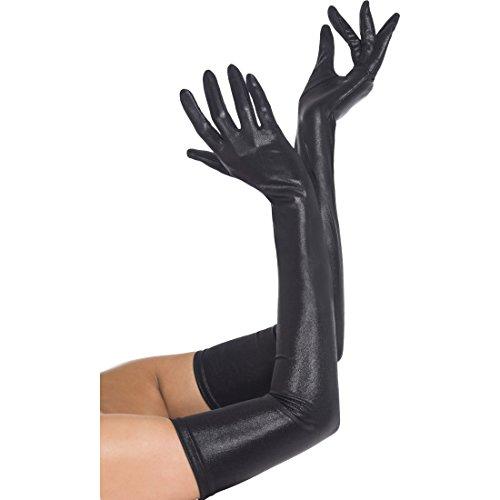Amakando Guantes de pintura sexy para mujer, largos, imitación de piel, color negro, gótico, de bruja, de manga larga, para disfraz de Halloween