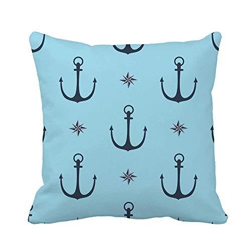 phjyjyeu Funda de cojín azul con diseño abstracto de anclajes marinos marinos marinos y marinas de 40,6 x 40,6 cm, funda de cojín cuadrada decorativa para el hogar, 45,7 x 45,7 cm