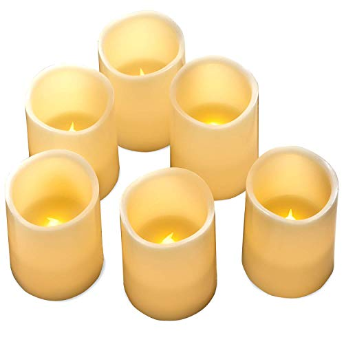 """Hayley Cherie - Real Wax Flameless Candles with Timer (Set of 6) - Ivory LED Candles 3"""" Wide x 4"""" Tall - Flickering Amber Flame - Battery Operated Pillar Candles - Large Unscented"""