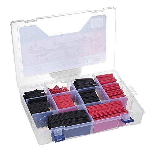 Maclean MCTV-530 Schrumpfschlauch-Sortiment Schrumpfschläuche Kunststoffschlauch (1, 520 Stück Schwarz/Rot)