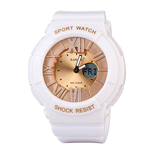 SANDA Relojes De Pulsera,Multi-Dobles Deportes Pantalla Luminosa Alpinismo de Reloj de los niños del Estudiante de Mujeres-Platino
